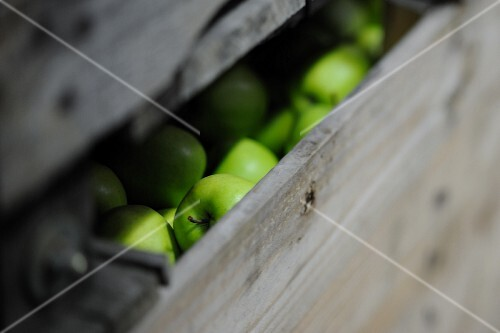 Wooden crate of Granny Smith apples