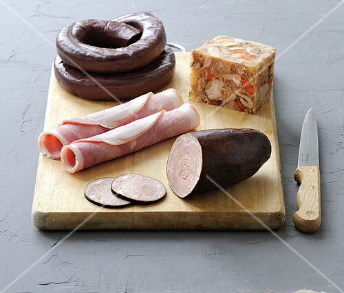Breton cold cuts on a chopping board