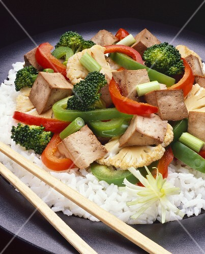 Stir Fried Tofu with Vegetables; Rice – StockFood