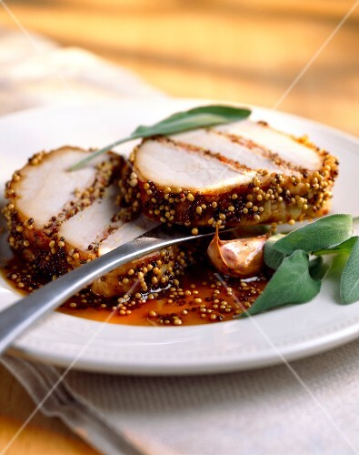 Roast pork with mustard and sage