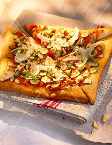 Tomato and courgette tart