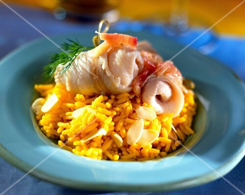 Sole in white butter with saffron and almond rice