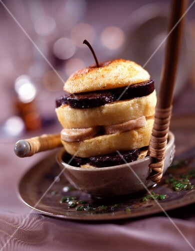 Black sausage and apple layer