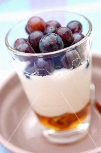 Fromage frais with honey and grapes