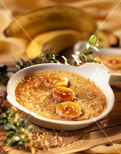 Caramelized banana flan with sesame seeds