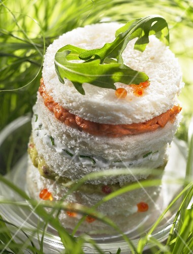Lobster-spiny lobster, cream and guacamole canapé sandwich (topic: summer snacks)