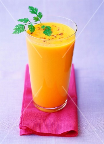 milky carrot juice with sesame seeds