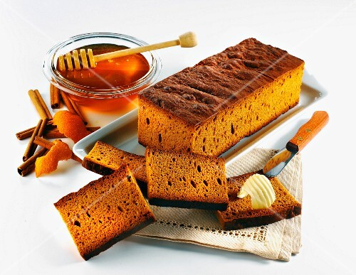 Honey cake, sliced