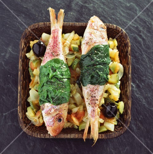 Red mullet with vegetables