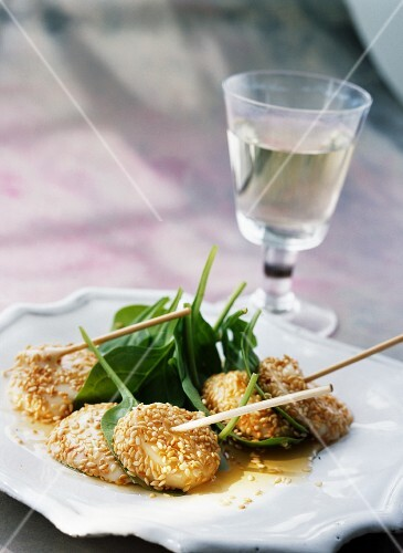 Abbaye de Citeaux cheese with sesame seed brochettes