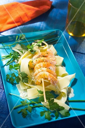 Dublin Bay prawn skewers with herb sauce