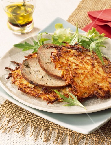 thin potato cakes with chitterlings sausage