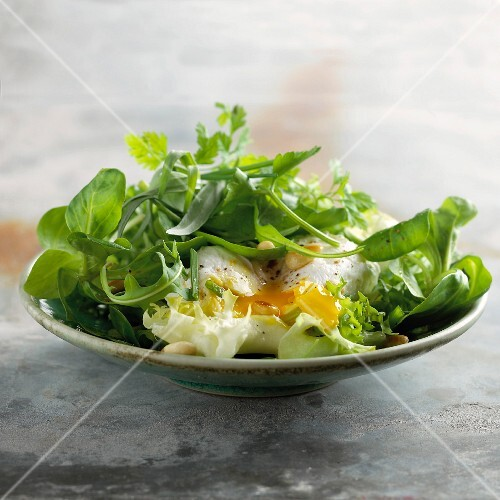 Herb and runny egg salad