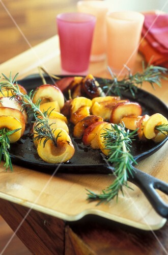 roast peach skewers
