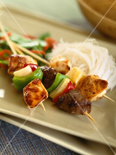 Three types of meat skewers