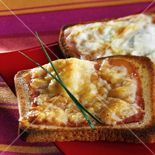 Cheese and ham on toast