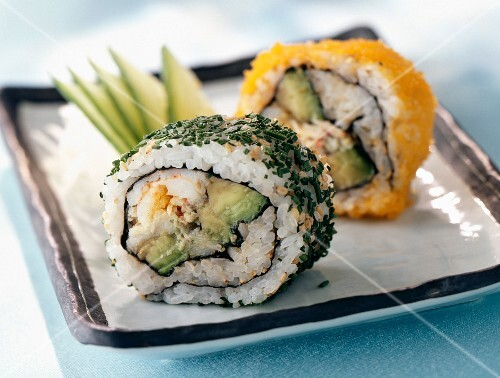 Californian maki with avocado and shrimps