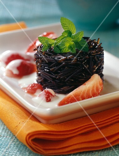 Black rice pudding with custard