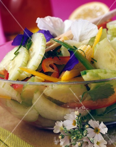 Cucumber and edible flower salad