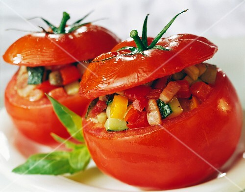 Tomatoes stuffed with summer vegetables