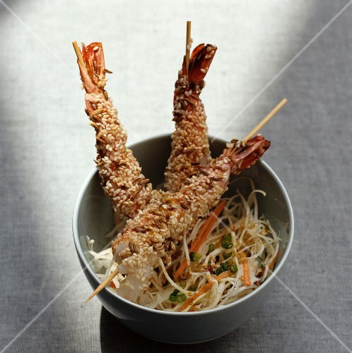 Prawns with a golden brown sesame seed crust and a fennel medley
