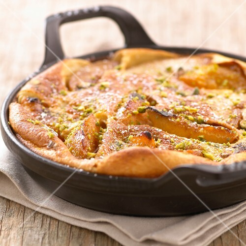 Peach and pistachio Clafoutis