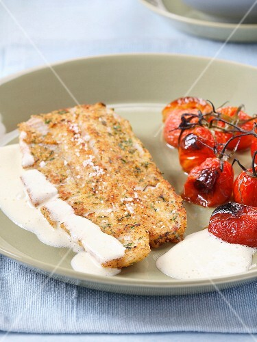 Cod with cream sauce and confit tomatoes