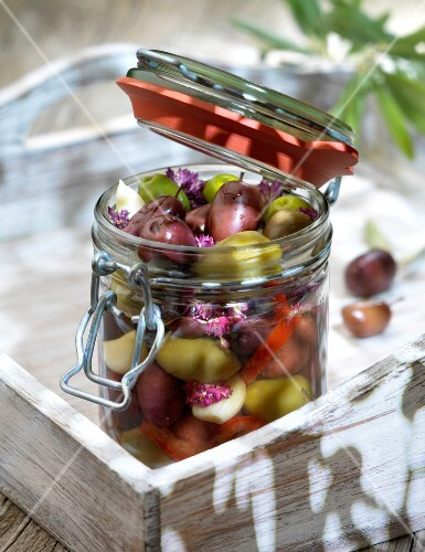Jar of mixed olives