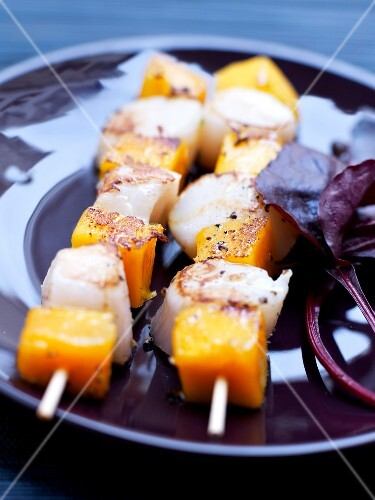 Scallop and pumpkin skewers