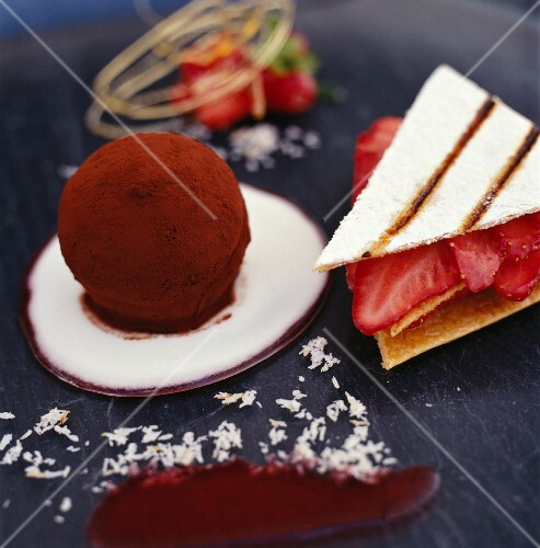 A strawberry millefeuille and a chocolate truffle praline