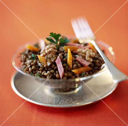 Lentil, carrot and walnut salad