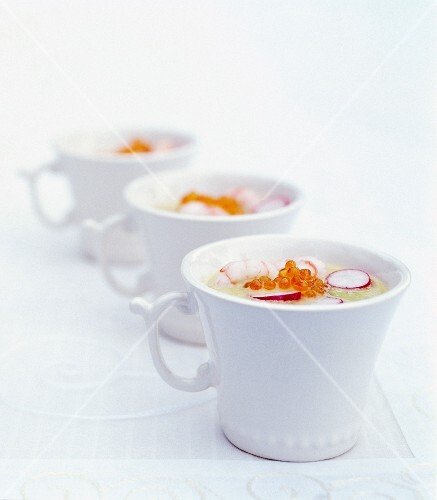 Melon, cucumber and tarragon gazpacho with prawns