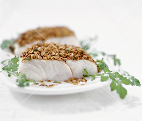 Halibut fillet with oatmeal batter