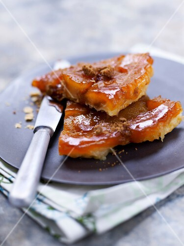 Slices of apple and cinnamon tatin tart