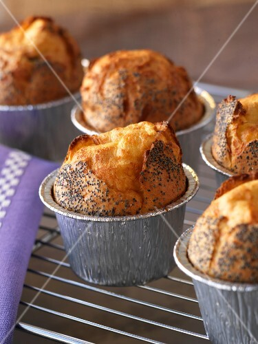 Blue cheese and poppyseed soufflés