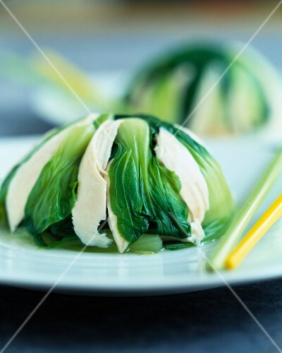 Chicken breast and Bok choy dome