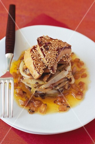 Pan-fried foie gras with sesame seeds and chicory