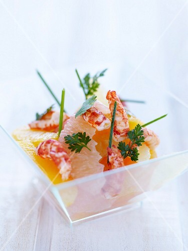 Citrus fruit and crayfish salad