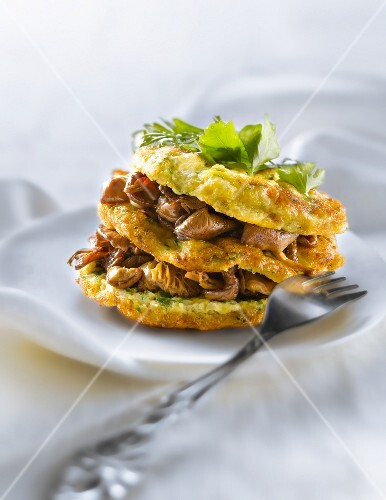Parsley omelette and mousserons with garlic Mille-feuille