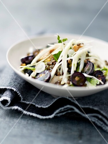 Chicken,white cabbage and black grape salad