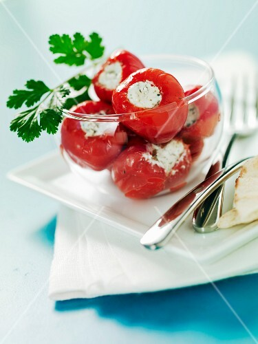 Red peppers stuffed with cream cheese