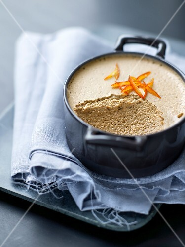 Coffee mousse with candied orange rinds