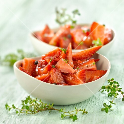 Strawberry fruit salad with thyme and balsamic vinegar