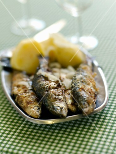 Grilled sardines with garlic and oregano