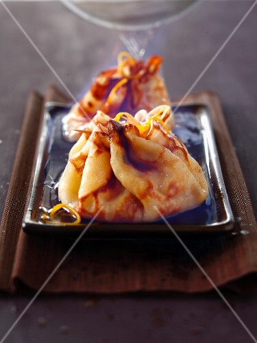 Crepes Suzette purses flambé