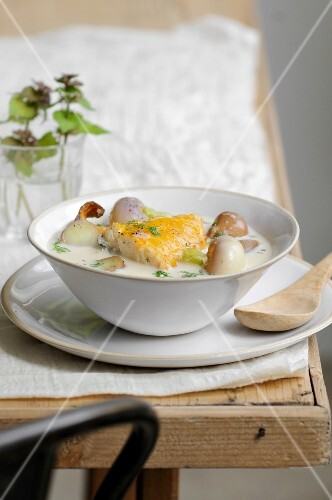 Smoked haddock boiled in milk with turnips