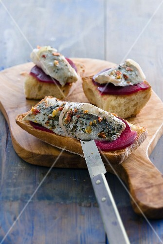 Herring and beetroot Bruschettas