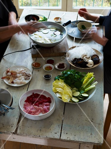 Korean Fondue on a table