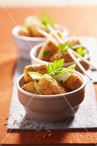 Fried breaded cheese appetizers