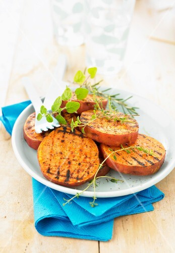 Grilled slices of sweet potatoes